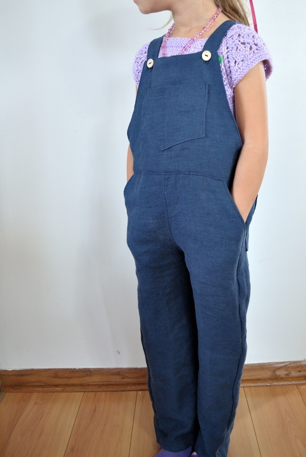 Johanna, Classic childrens overalls, made with IL019 Cobalt Softened. Bib pocket, front pockets, and back pa...