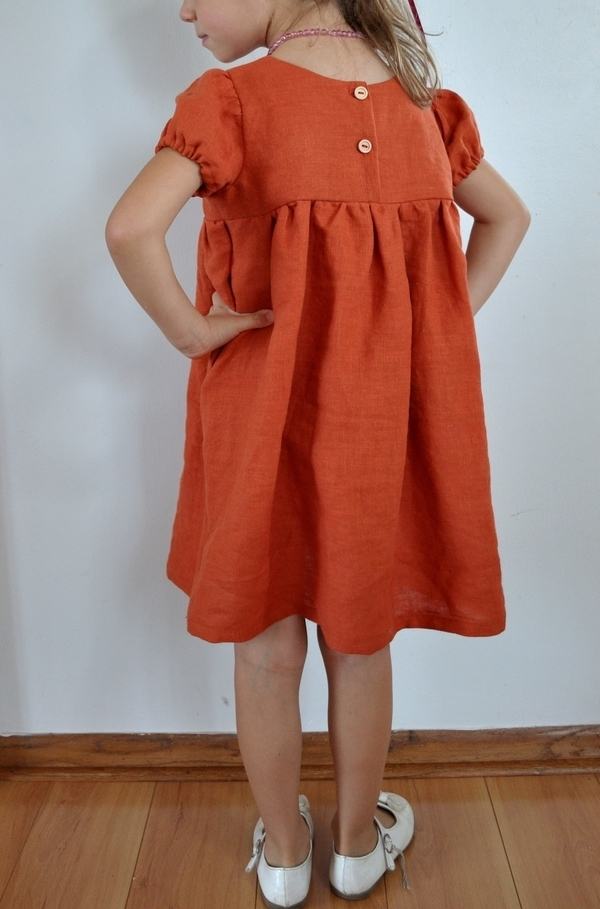 Johanna, Timeless empire waist girls dress made with IL019 Mecca Orange Softened. Reversible, loose fitting a...