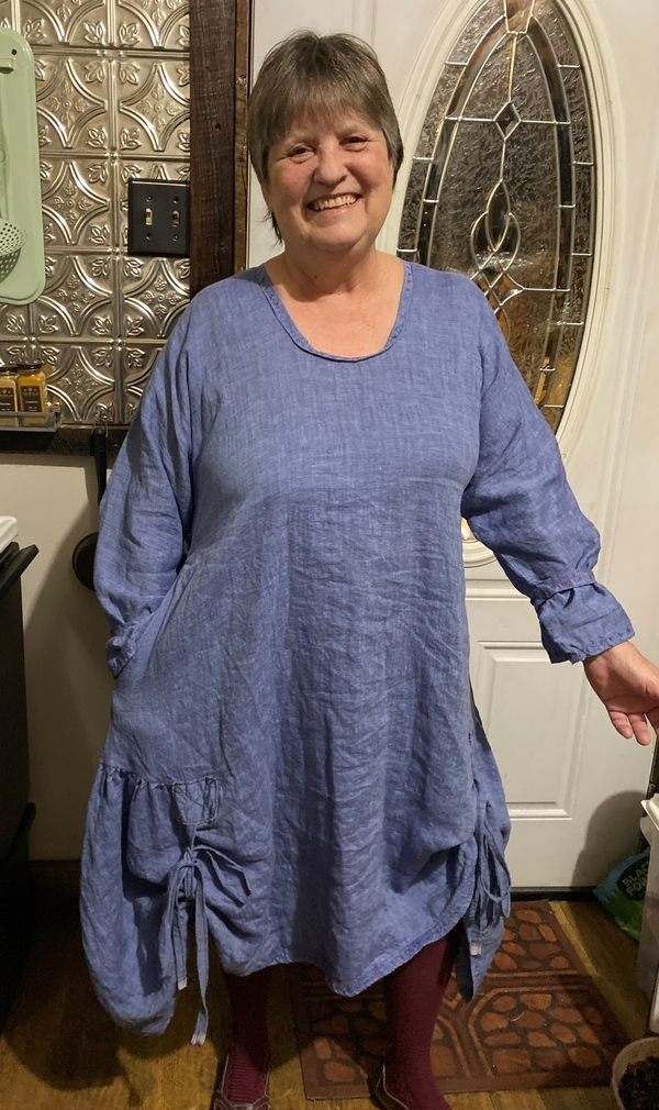 Vickie, Apparel        Tunic dress made in beautiful yarn dyed linen, has embroidered ties on the hemline ,...