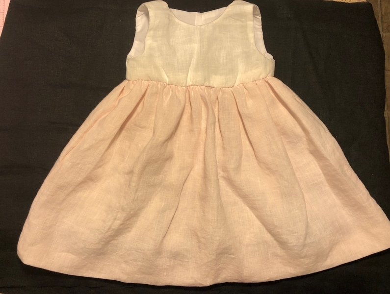 Barbara, Baby girl dress made with DB IL019 Soft Pink softened linen for the skirt and DBIL020 Linen Bleached...
