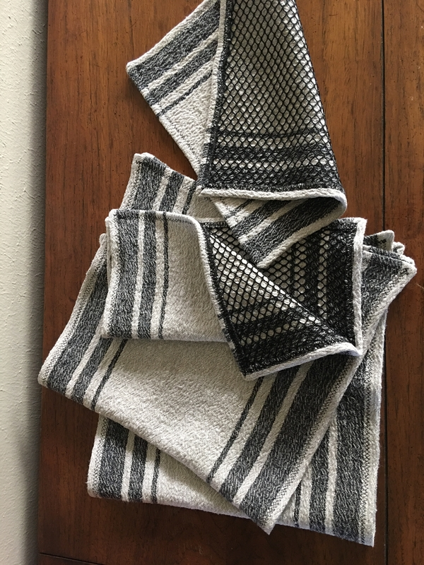 Peggy, Black & Tan canvas kitchen towels and scrubby dishcloths for my son to take to his college d...
