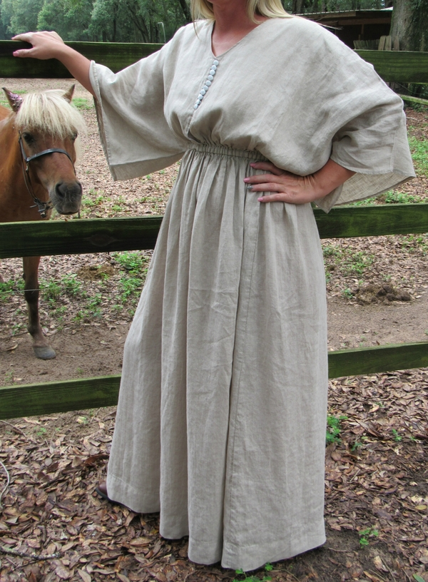 Becky  , Our Maxi dress is a perfect design for linen. We used Mixed Natural for this version. We also make i...