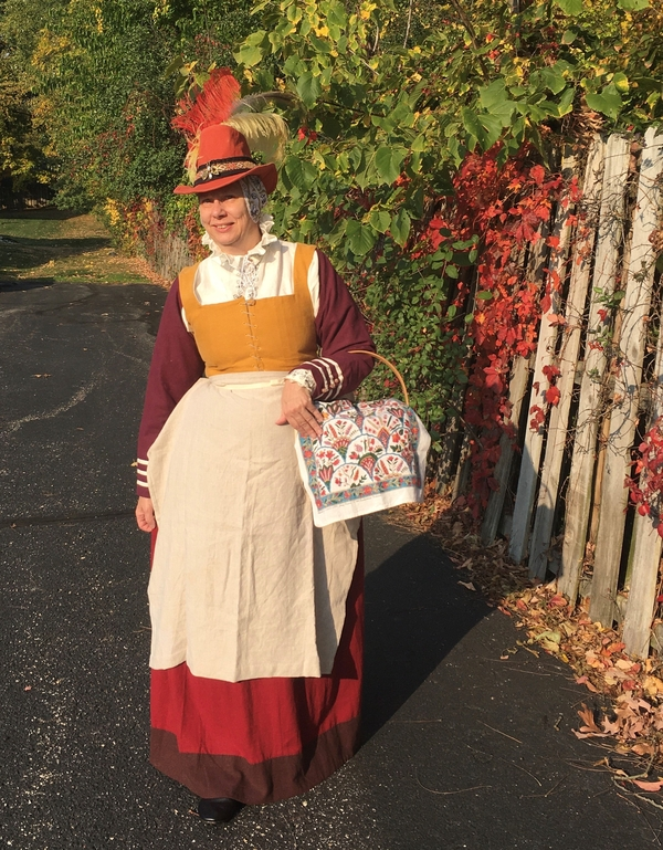 Karen, My Autumn Leaves Elizabethan kirtle reminds me of fall colors.  The red skirt and gold bodice are co...