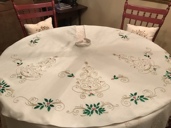 Mary, Hand embroidered Christmas tree skirt Love doing my own design antique color linen