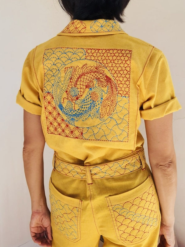 Geri, Traditional Chinese royal colors on modern workwear. Koi fish, in a legend, swim upstream in Yellow...