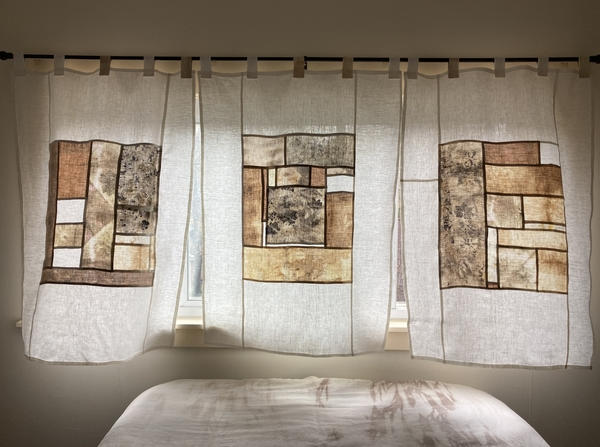 Catherine, Pojagi style curtains made from natural-dyed bleached linen (avocado, walnut, acorn, marigold) with...