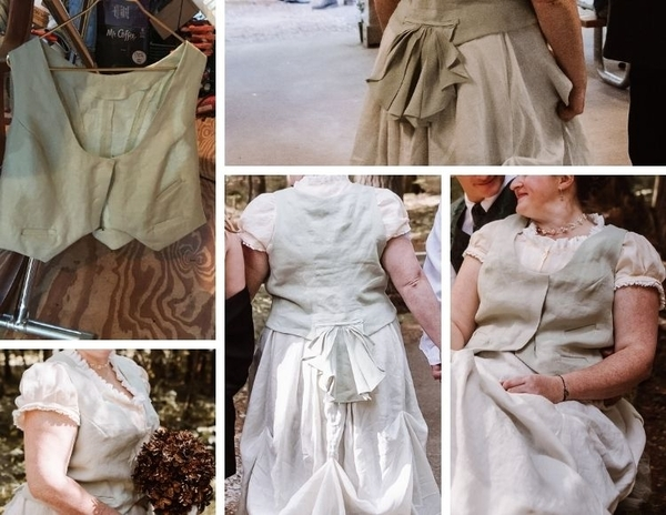 Jessica, My first major project - Designed vest for wedding dress. Vest was designed by draping &  pinnin...