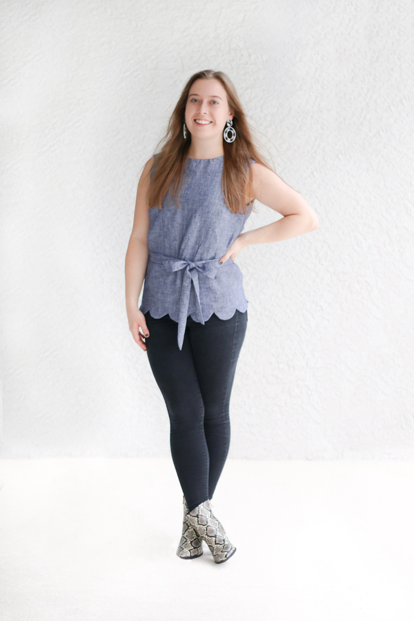 Jessica, A new fall favorite of mine! I created this scallop edge sleeveless top using Butterick Pattern 6175...
