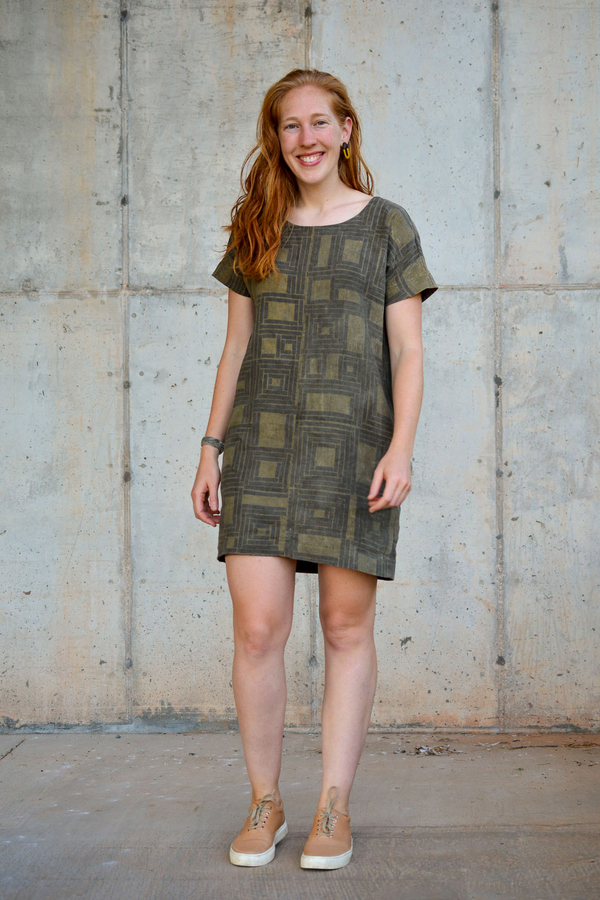 Emily, This dress by SewCo Patterns was crafted from linen dyed with fermented pomegranate skins, then prin...