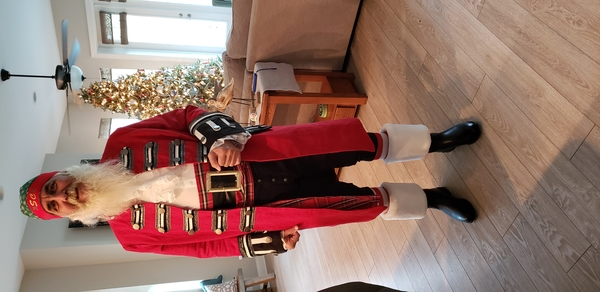 Debbie, I  made a Santa Pirate coat. This gentleman wanted to be a Christmas Pirate. Crimson linen,  with si...