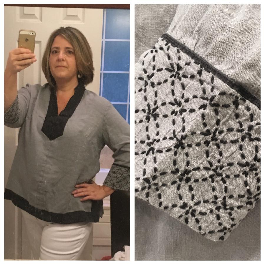 Shae, Tunic with Medium weight linen (Monument) and trimmed with handkerchief weight black linen. The cuff...