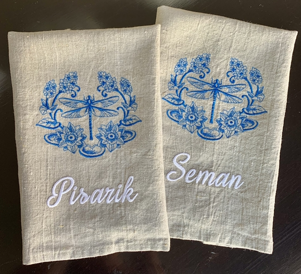 Jeanmarie, Personalized tea towels for new home closing gifts. This vibrant blue looks gorgeous on the natural...