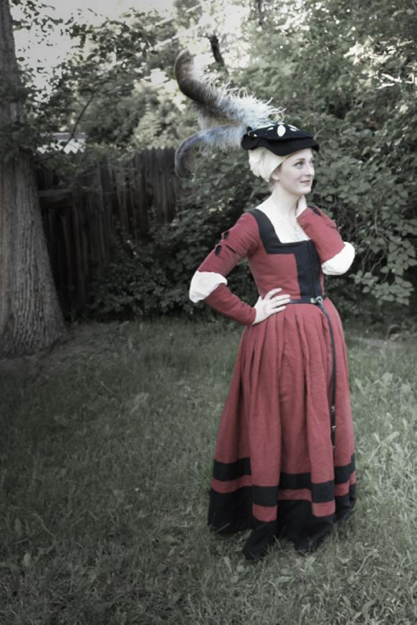 Sarah, Early 16th century German dress.  Made with crimson, black, and optic white.