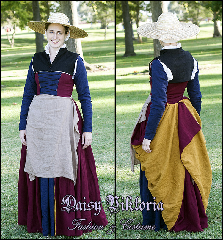 Daisy, 16th cen­tury Flem­ish working class gown. Smock, two partlets, kirtle, sleeves, apron, and cap made...