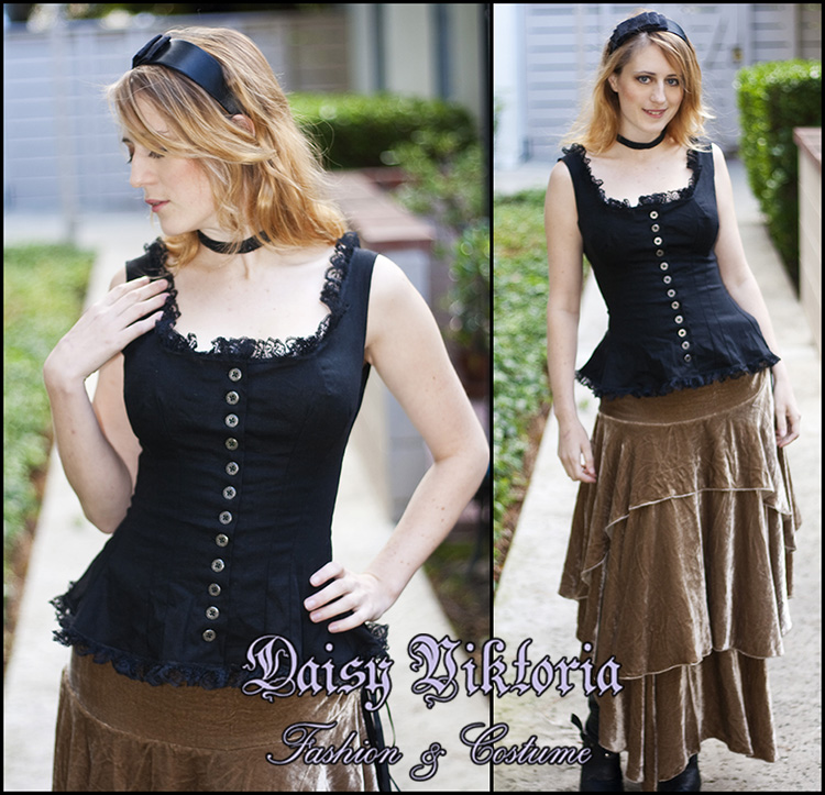 Daisy, Black linen camisole with silver buttons and delicate lace edging. I was inspired by the look of the...
