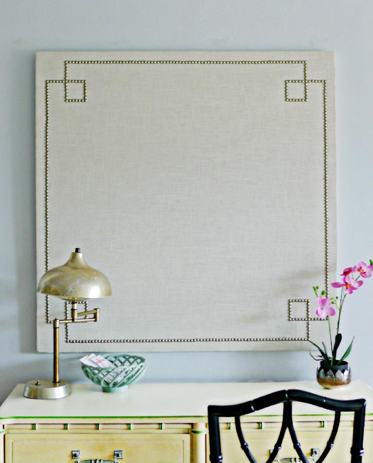 Alexis, Custom made linen wrapped corkboard with nail heads in a reverse greek key design!