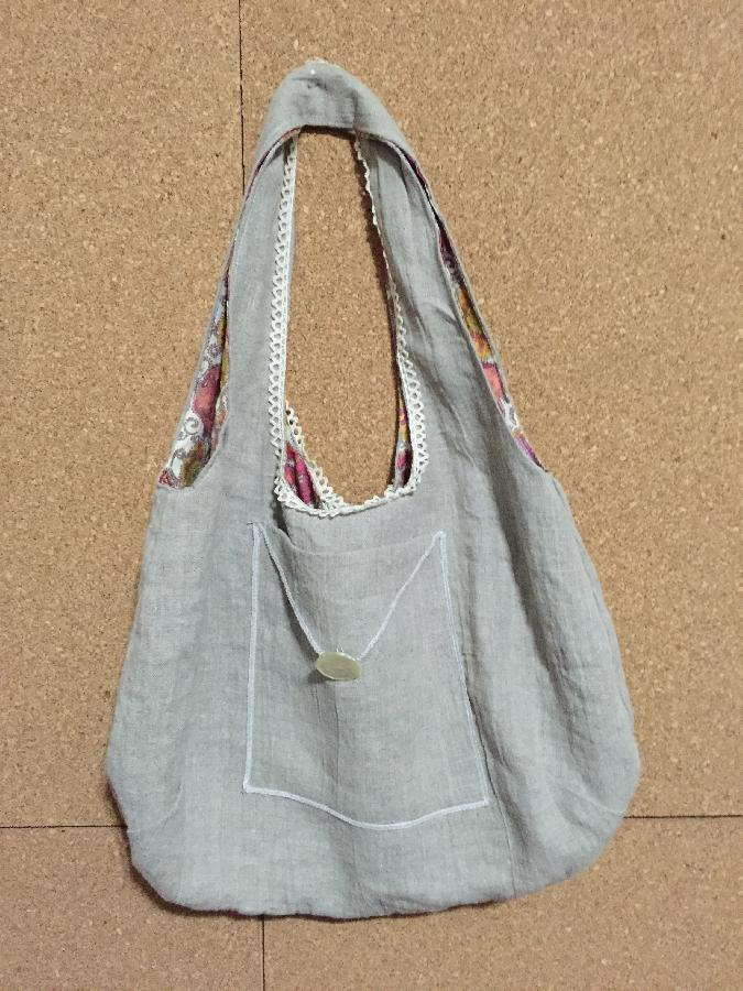 Brigette, This is a little bag I made out of natural medium weight linen.  I added antique lace and an old but...