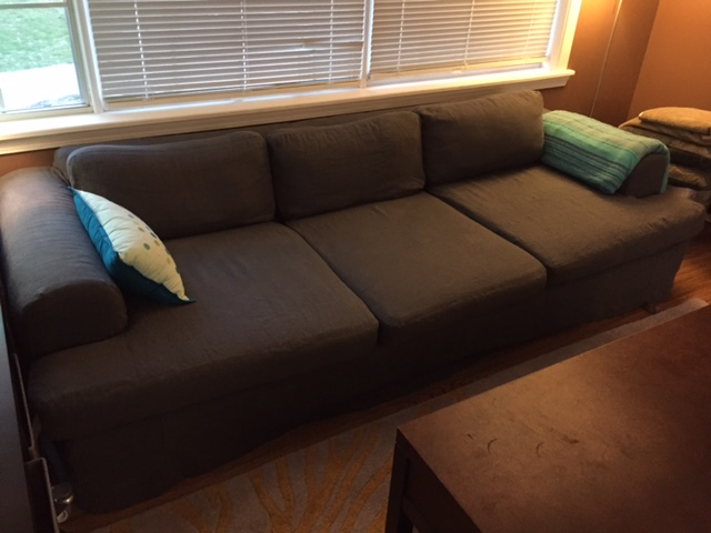 Barbara mcclenny, Custom Slip covered couch in Asphalt 4C22 Linen.