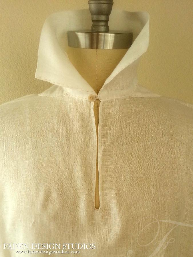 Romy, New work from the studio- 100% linen- hand stitched replica of 18th century farmers shirt www.faden...