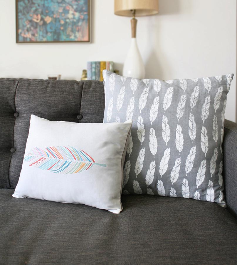 Morgana, I used grey linen and screen printed my white feather pattern on it to make 18 x18 pillows for my ho...