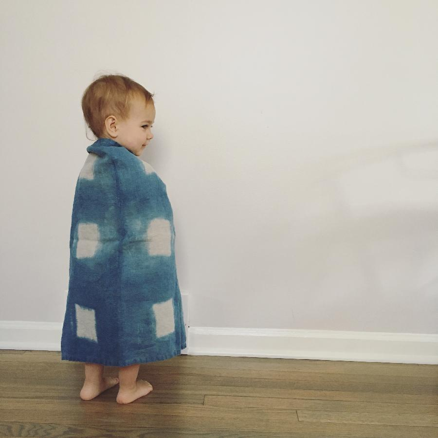 Anne, Linen mini blanket, shibori dyed with natural indigo
