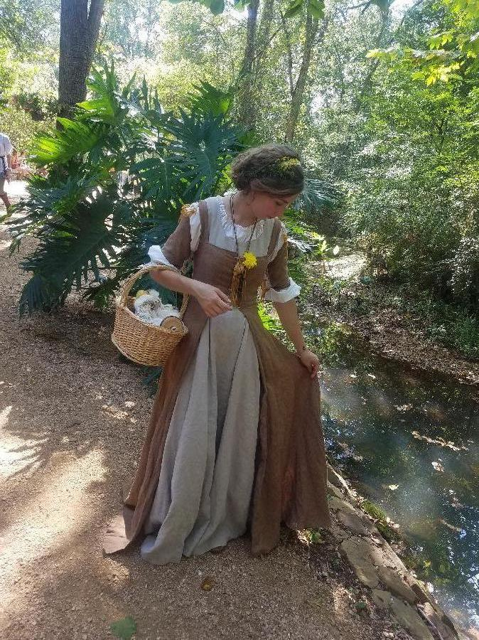 Katrina, I made a 100% linen underdress and over dress for the Renaissance Festival this year. It took me thr...