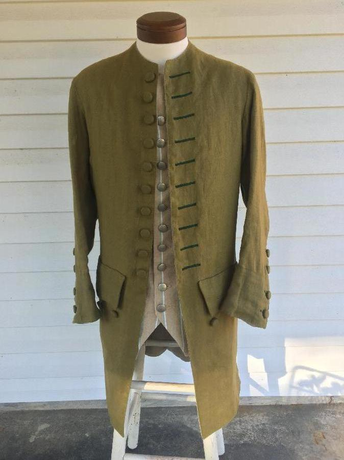 Matthew, This is a 100% linen, mid-18th century, mens coat. Its design is adapted from a handful of 18th ce...