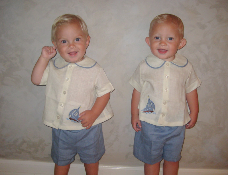 Irene, My precious twin grandsons look so handsome celebrating their first birthday in the diaper shirts an...