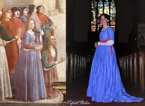 Caryn, This was a recreation of an outfit in Ghirlandaios painting of the Resurrection of the Boy. The whi...