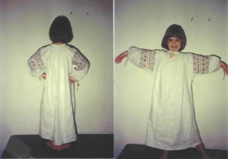 Marilee, This is a medium weight white linen Russian Rubakha or underdress. It was hand sewn with silk thread...