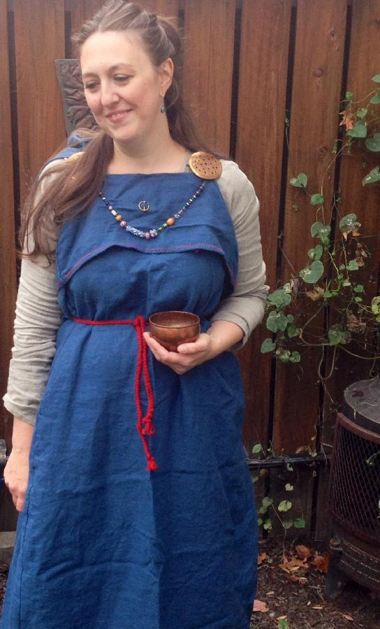 Jen, Early Anglo-Saxon peplos-type overdress made with IL019 Blue Bonnet, and underdress made with  IL019...