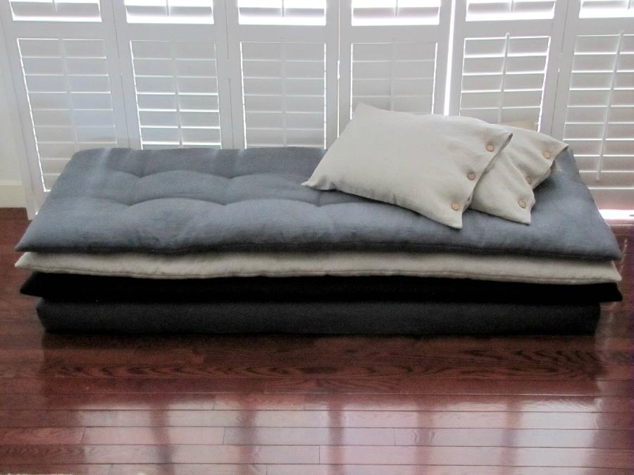 Darcy, Stacked Daybed and Button Pillow Shams. Handcrafted tufted cushion layers were created using Teak So...