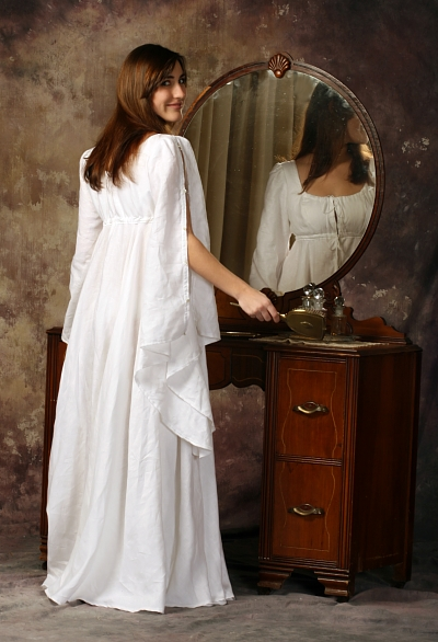 Andrea, A handkerchief weight 100% linen romantic nightgown. Features a double layered empire bodice, bell s...
