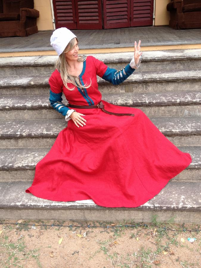 Andrea, A medieval dress made from 100% Linen in colours crimson, medium weight, with contrasting sphinx, an...