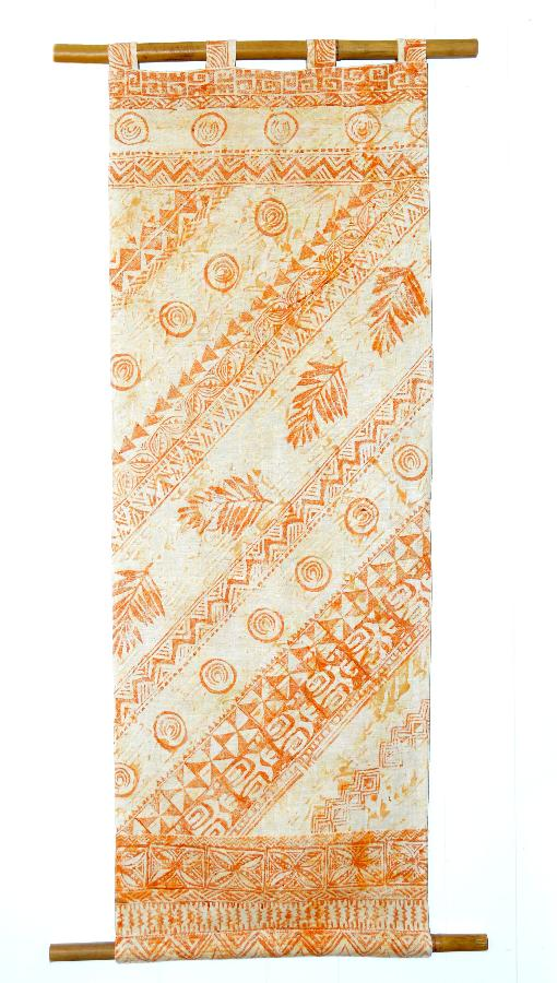 Lesley, Hand printed linen wall hanging using block prints carved by myself, inspired by Hawaiian flora and...