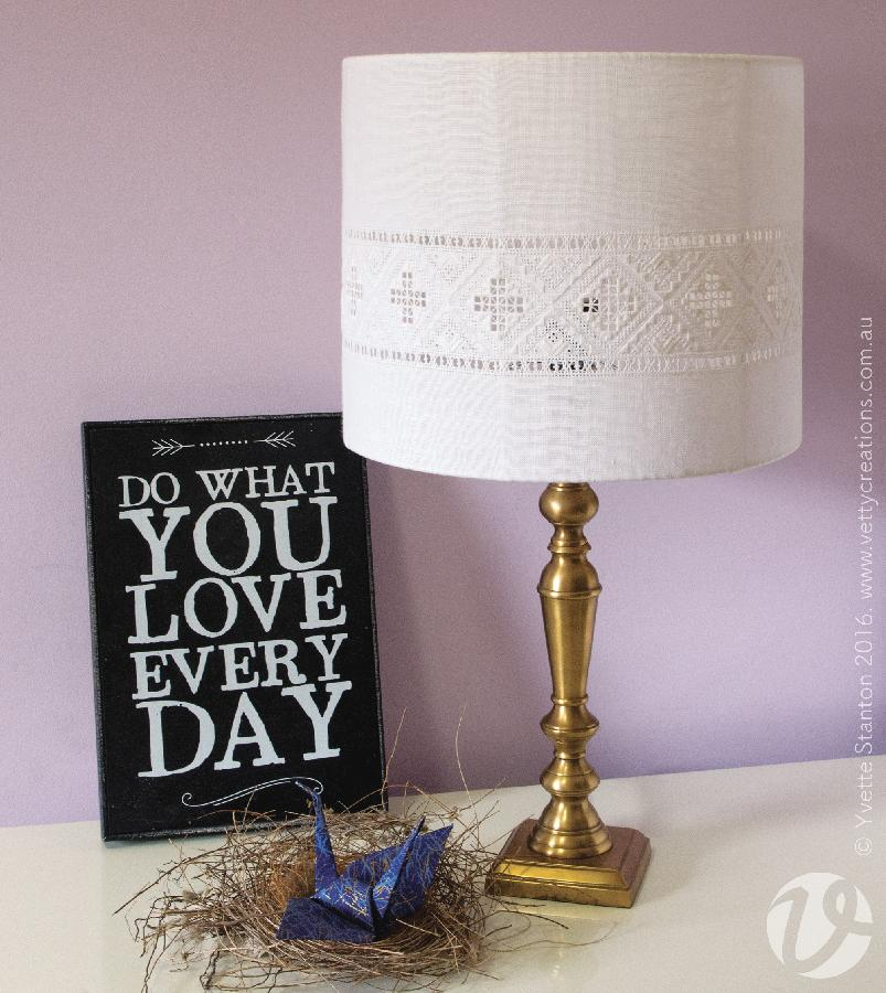 Yvette, This lampshade is worked in traditional-style Hardanger embroidery, using linen thread on linen fabr...
