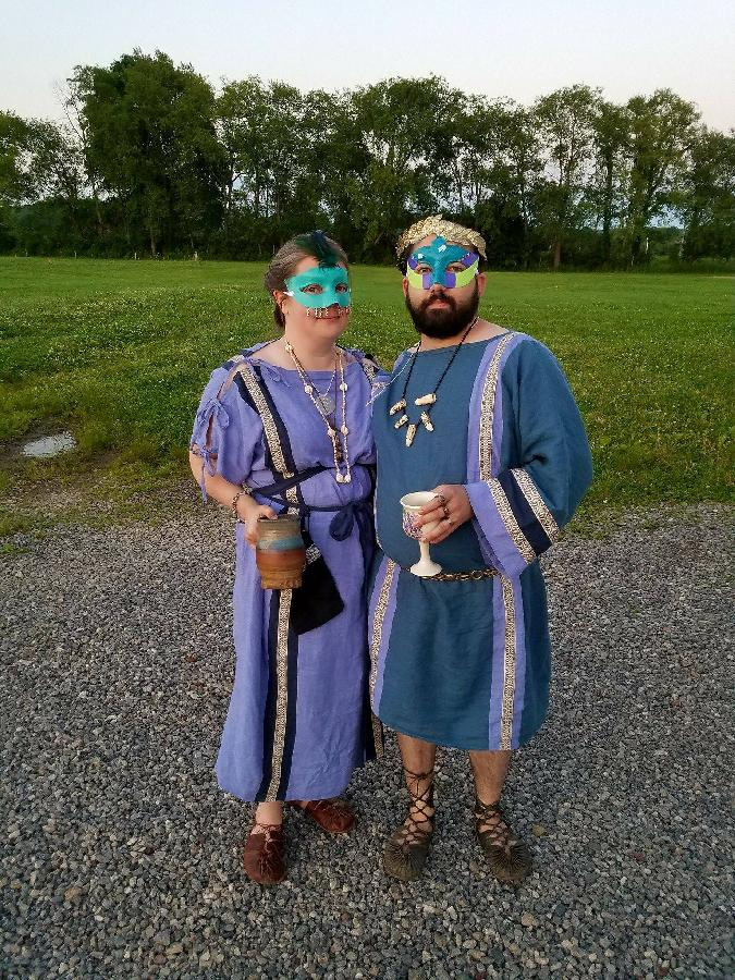 Marykate, His & Hers Roman garb decked out and ready to attend a Masquerade ball!  Chiton (Hers) is Wisteria w...