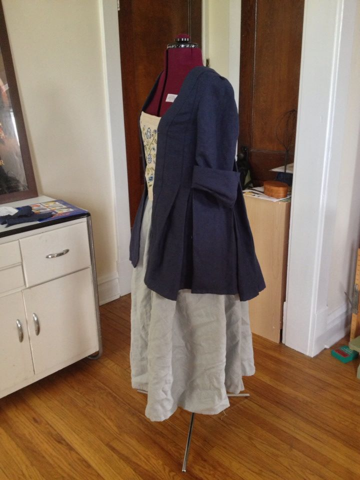 K, Compleatly hand sewn short saque back gown with gray petticoat.  All linen.  This look is a reproduc...