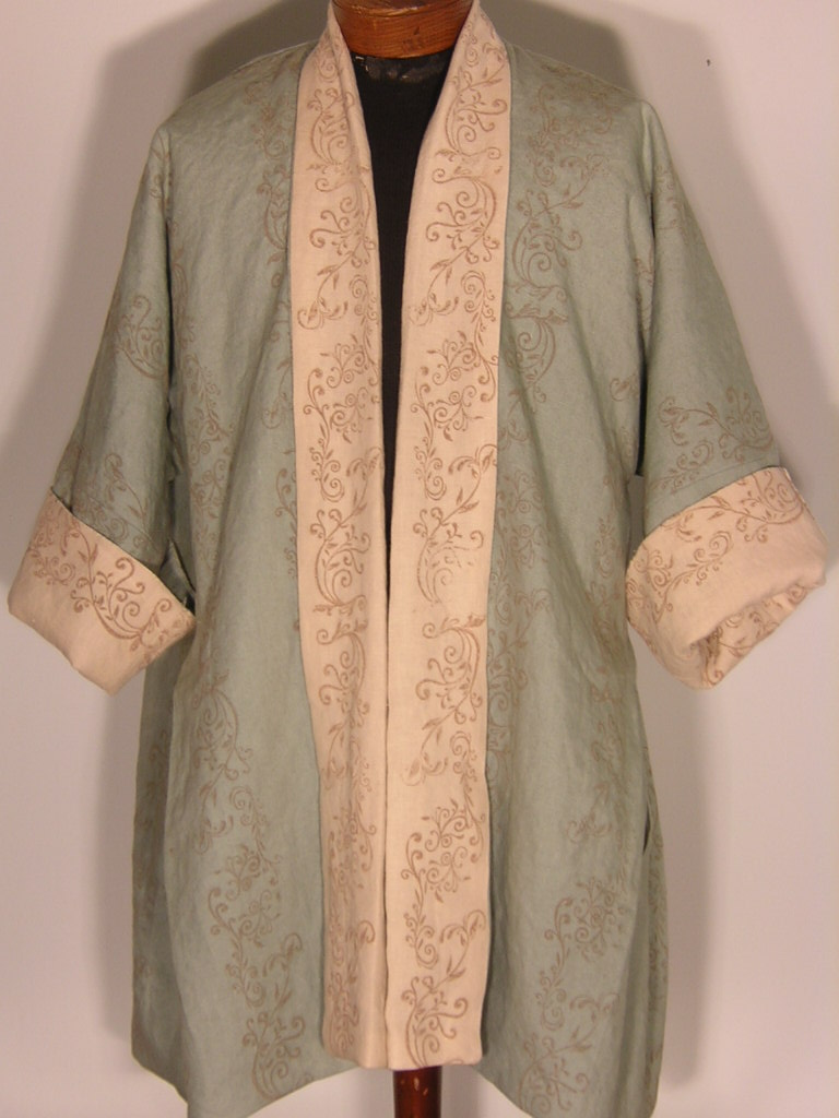 Laura, This is an 18th century French Bedgown. It is a lined, reversible garment made of two different colo...
