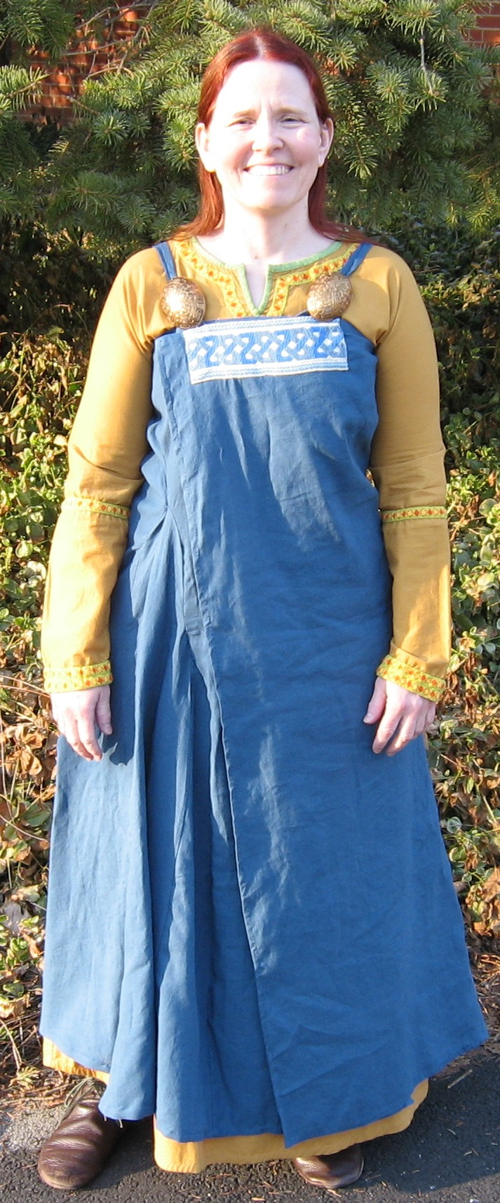 Catherine, Wraparound Viking apron dress design (experimental only!  Not really a recreation) in IL019 linen.