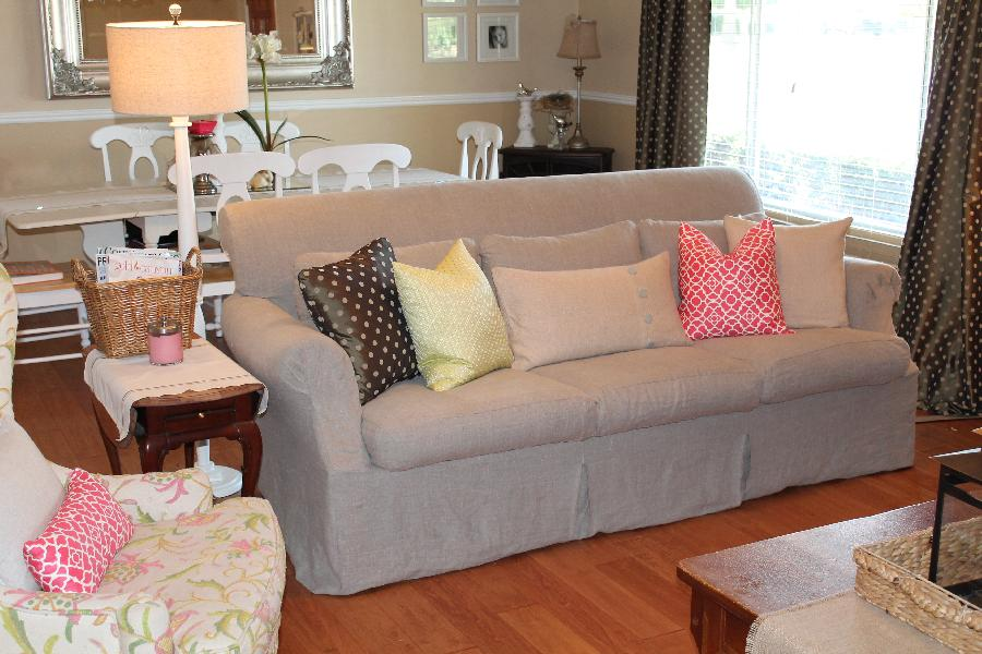 Bethany, I loved the style of our down filled sofa, but not the fabric.  I made a slipcover from the Heavy Ru...