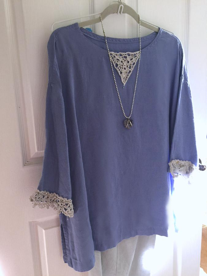 Betty fay, Linen tunic with handmade crochet lace at cuffs and neckline.  Made with IL019 in Wisteria.