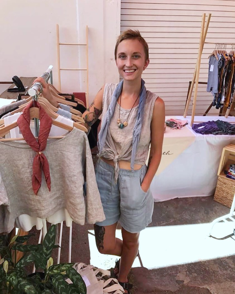 Sam, All handmade outfit, IL019 Meadow shorts, IL019 Mix Natural tie front top, Bandana scarf is IL020 Bl...
