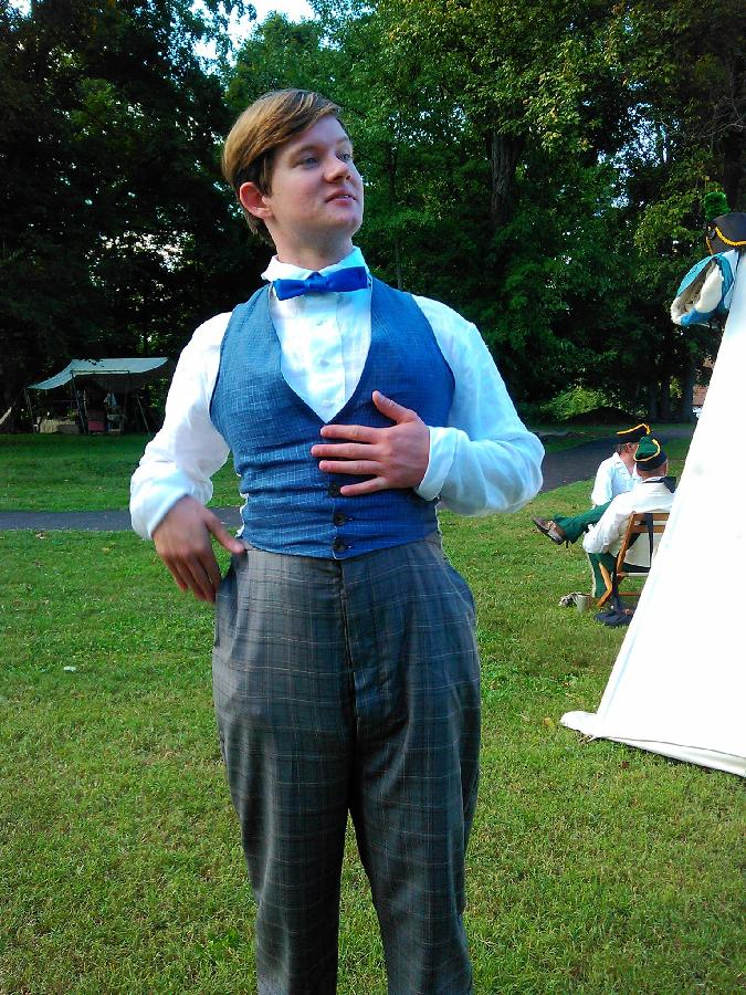 Melissa, For the 1860s gentleman, a collarless plaid linen vest (lined and backed in handkerchief linen) and...