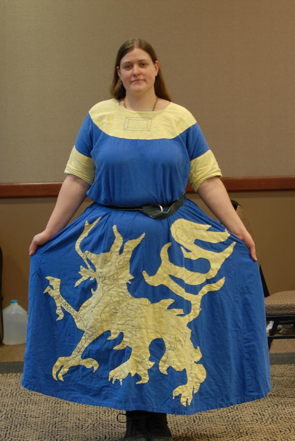Amberly, My very first Linen project! This is a heraldic tunic with hand embroidered details. Blue is 100% li...