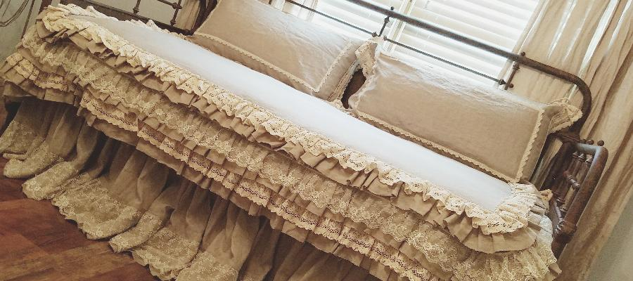 Song, Daybed duvet cover was made with IL020 natural softened.  Three layer ruffles with lace overlay. Mat...
