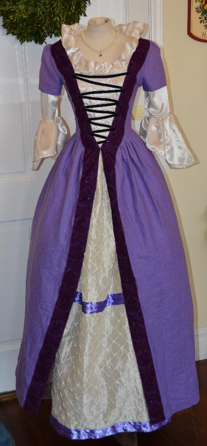 Holly, Above, is a gorgeous, 18th century, French aristocrat gown.  The main body of the dress is purple li...