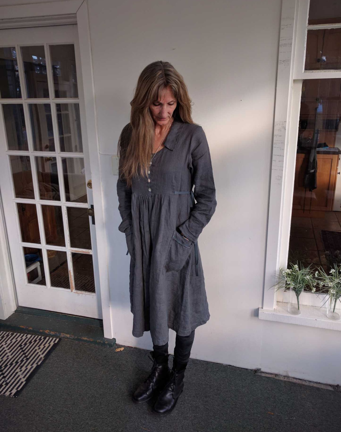 Beth, Charcoal Grey 100% linen Caroline dress. This dress has a sweet collar, slightly raised bodice wit...