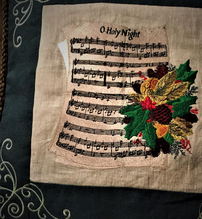 Theresa, THIS PILLOW COVER IS MADE WITH NATURAL AND EMERALD LINEN, EMBROIDERED SHEET MUSIC,SILVER EMBELLISHME...