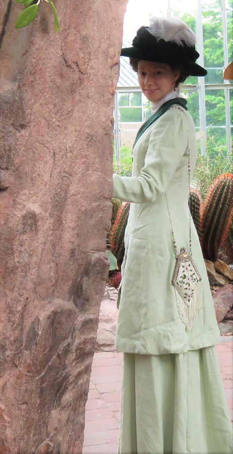 Megan, Edwardian Ladies Coat Suit - reproduction c.1908.  Summer walking suit made from 019 linen in willow...